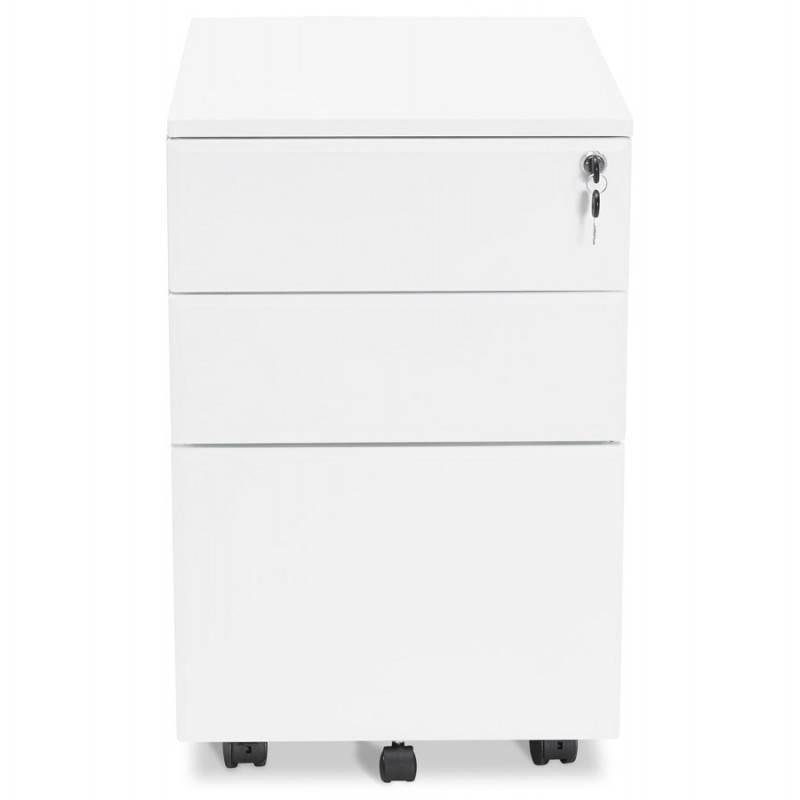 Caisson de bureau design 3 tiroirs MATHIAS en métal (blanc) - image 25930