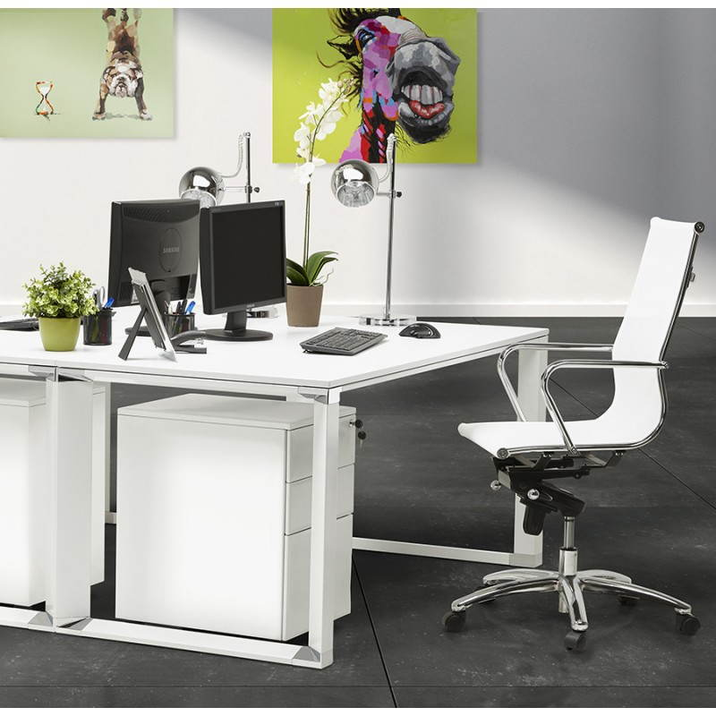 subwoofer design desk 3 drawers mathias white metal - Bureau Design