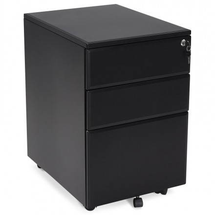 Subwoofer design desk 3 drawers MATHIAS (black) metal