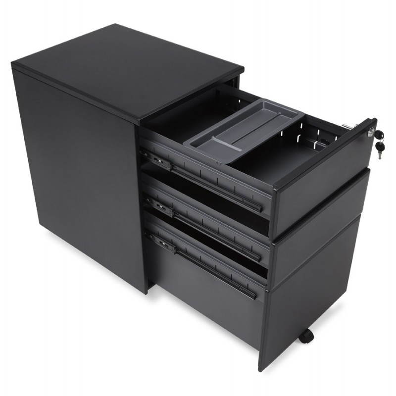 Subwoofer design desk 3 drawers MATHIAS (black) metal - image 25953