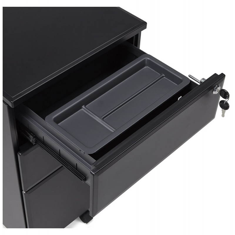 Subwoofer design desk 3 drawers MATHIAS (black) metal - image 25957