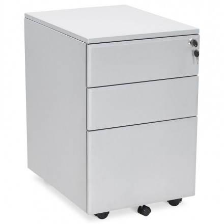 Subwoofer design desk 3 drawers MATHIAS metal (grey)