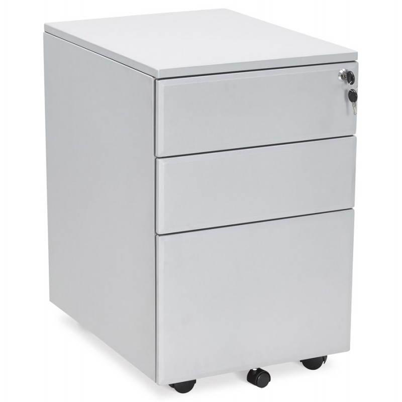 Caisson de bureau design 3 tiroirs MATHIAS en métal (gris) - image 25963