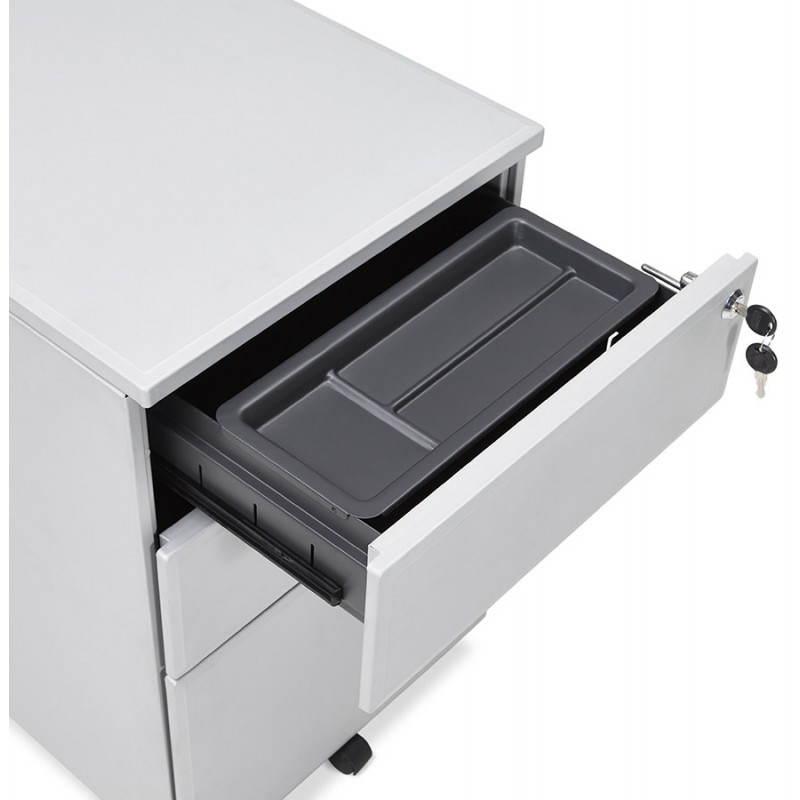 Caisson de bureau design 3 tiroirs MATHIAS en métal (gris) - image 25974