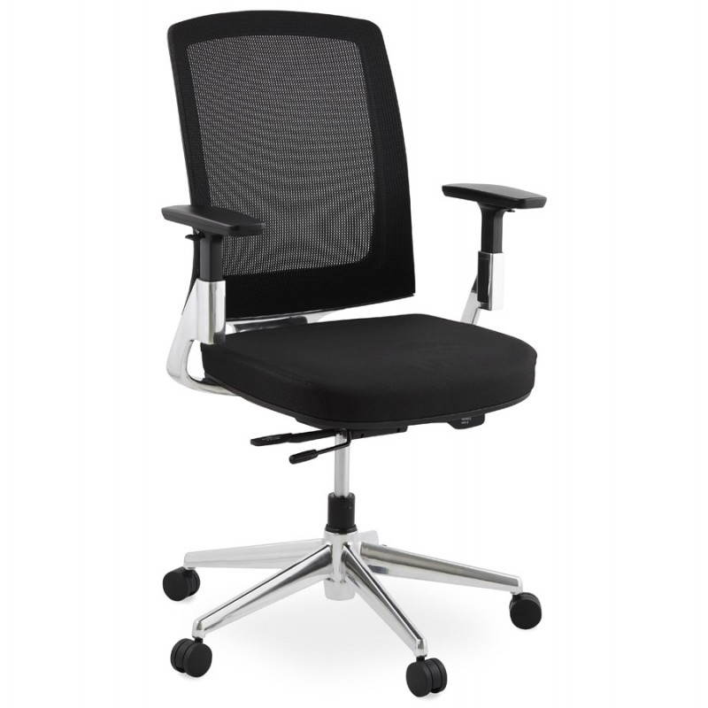 Fauteuil de bureau ergonomique LEO en tissu (noir )