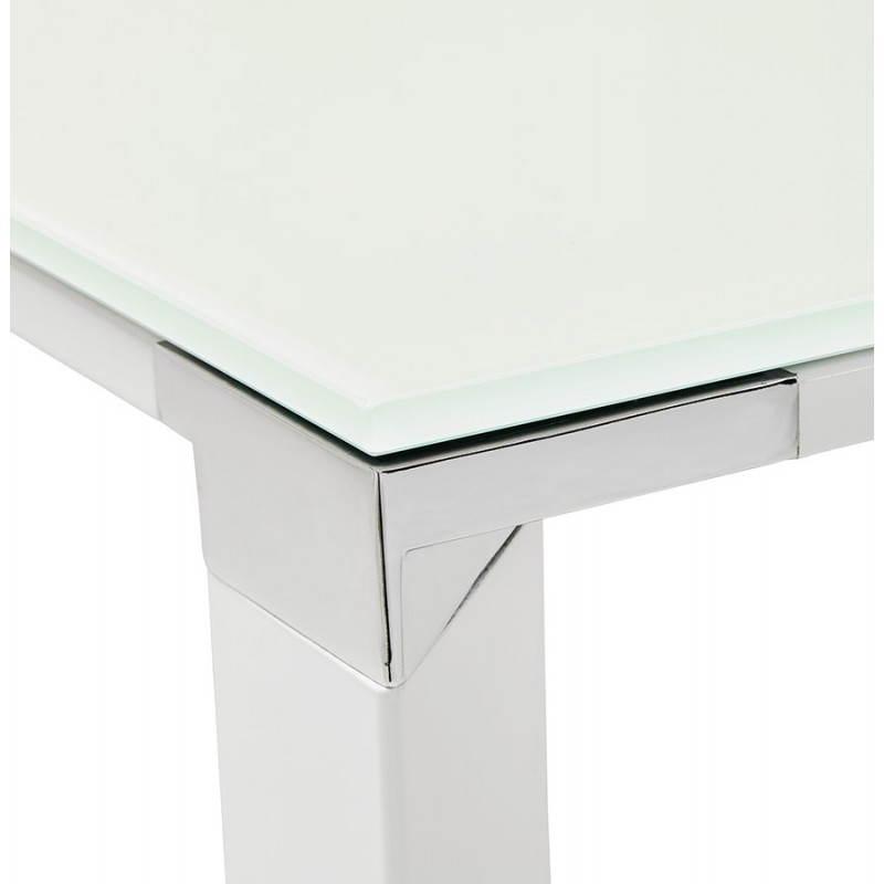 Bureau droit design boin en verre tremp blanc for Bureau verre blanc