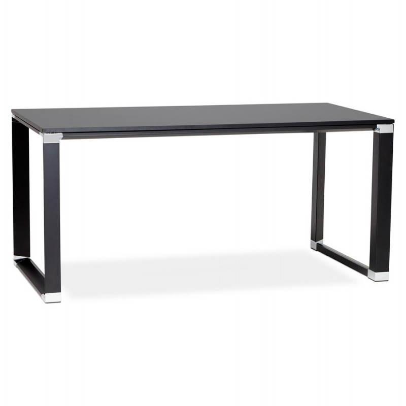 Bureau droit design bouny en bois noir for Bureau noir et bois