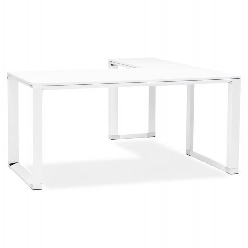 Bureau d 39 angle design corporate en bois blanc - Bureau d angle design ...