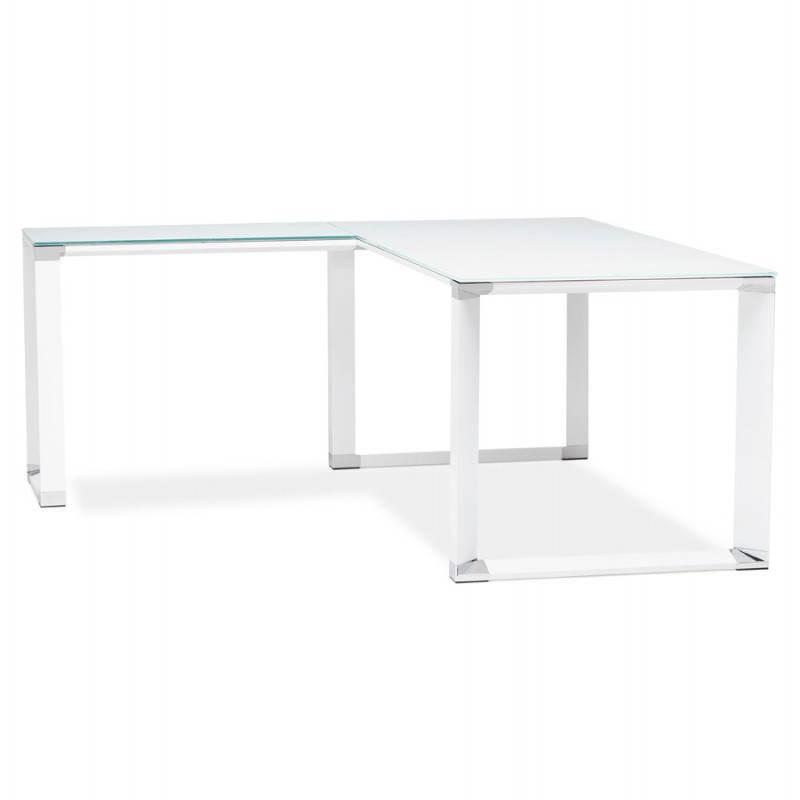 Bureau d'angle design MASTER en verre trempé (blanc) - image 26093