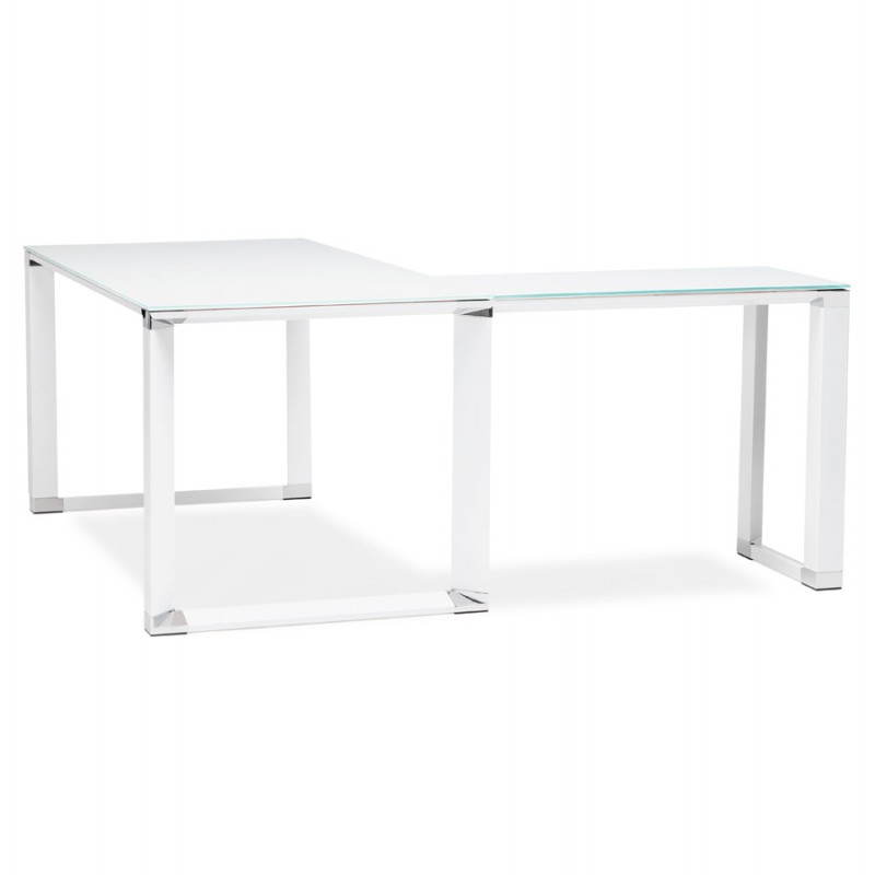Bureau d'angle design MASTER en verre trempé (blanc) - image 26105