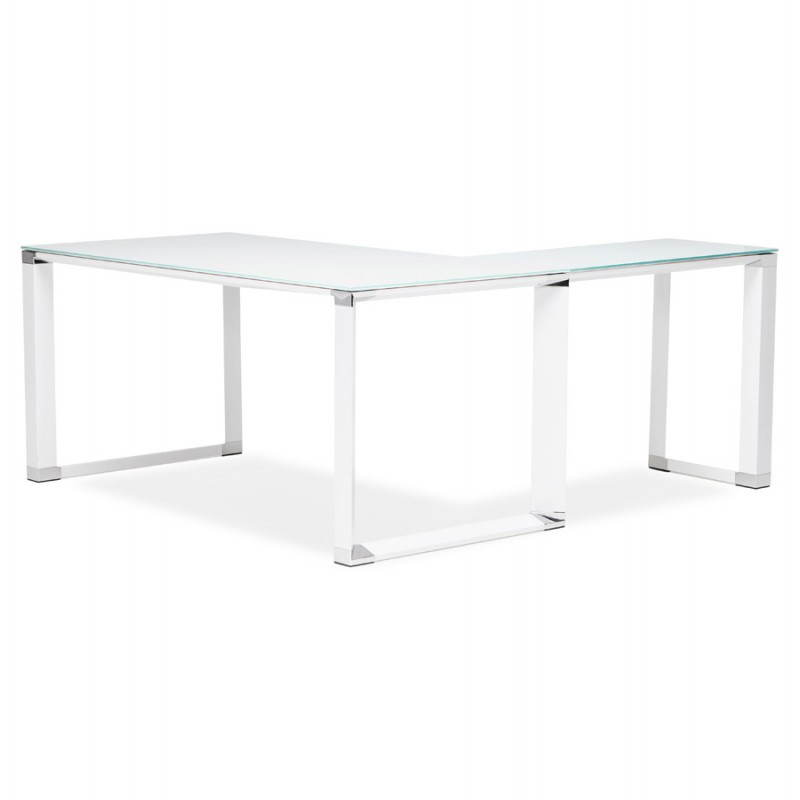 Bureau d'angle design MASTER en verre trempé (blanc) - image 26106