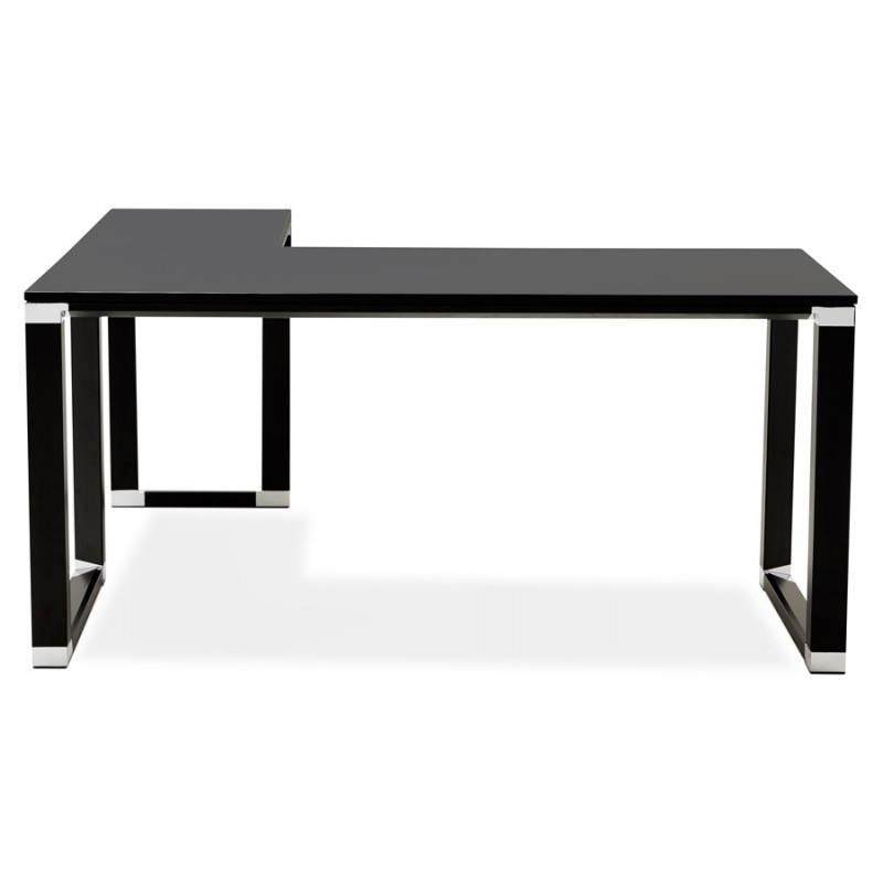 Bureau d 39 angle design corporate en bois noir - Bureau d angle en bois ...