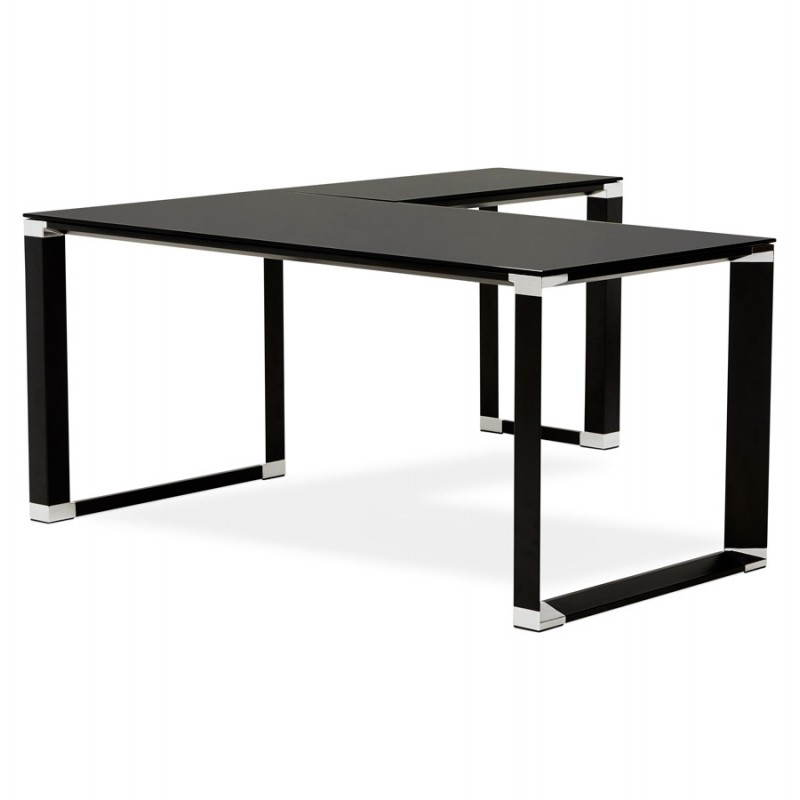 Design corner master black tempered glass desk - Bureau en verre trempe noir ...