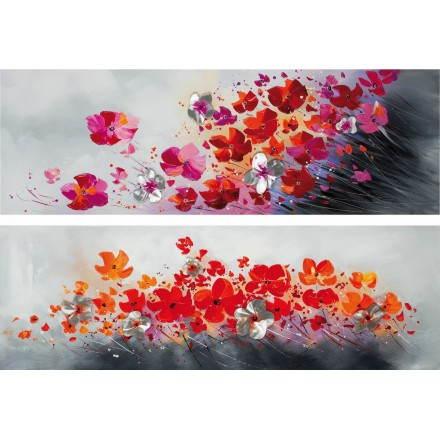 2 Tableaux peinture florale FLORE