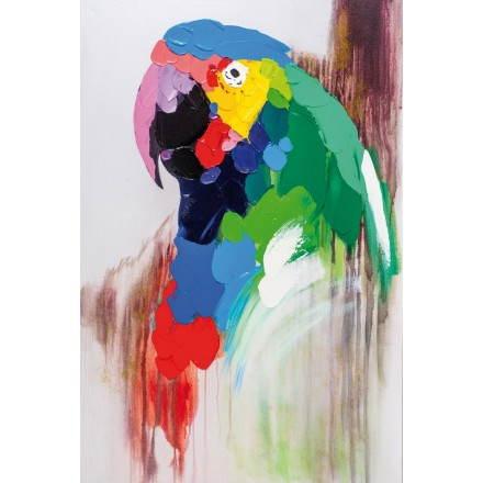 Tabella di pittura figurativo contemporaneo pappagallo