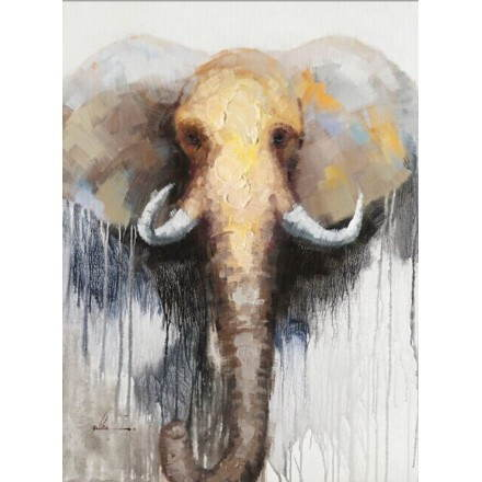 Table painting figurative contemporary ELEPHANT