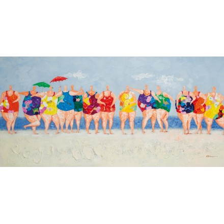 Table painting figurative contemporary BATHERS