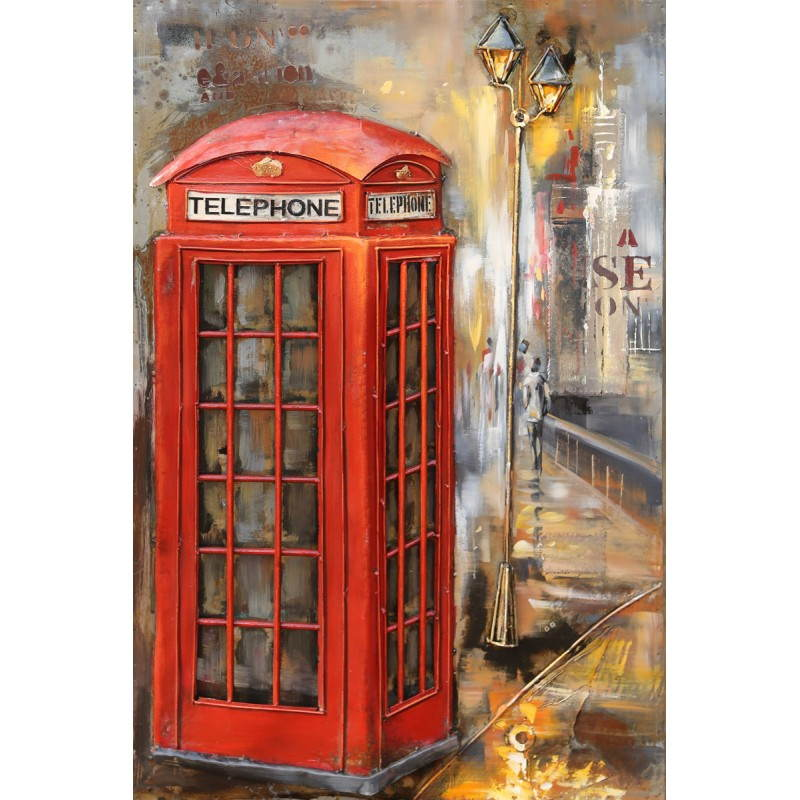 tableau peinture support m tal telephone. Black Bedroom Furniture Sets. Home Design Ideas