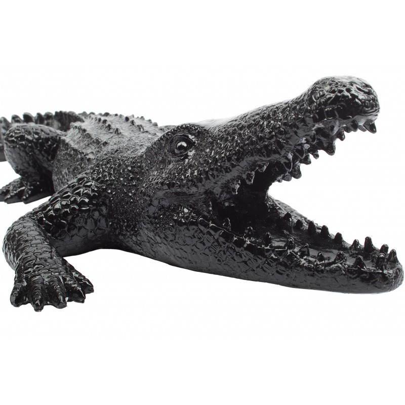 Statue sculpture décorative design CROCODILE en résine (noir) - image 26745