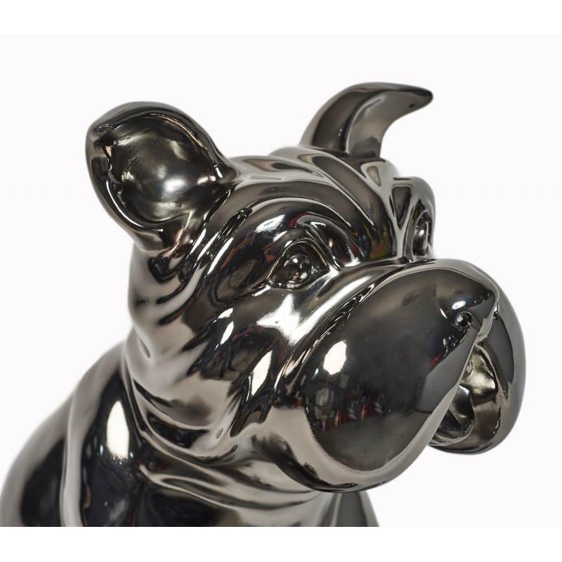 Statuette sculpture décorative design CHIEN en résine (gris foncé, canon de fusil) - image 26748