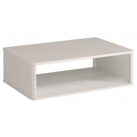 Table basse rectangulaire design PICPUS (blanc mégève/blanc brillant)