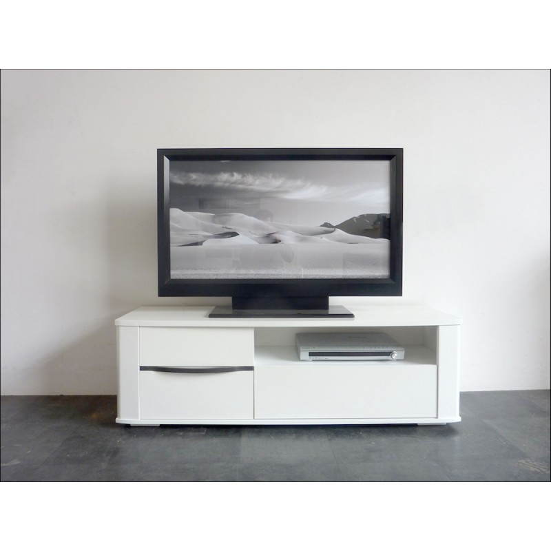 Meuble bas tv design picpus blanc meg ve blanc brillant for Meuble tv bas blanc