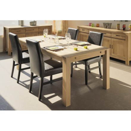 Table salle à manger design HALLES (beige finition huilé) - AMP Story 3887