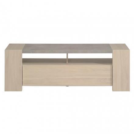 Low industrial design TV GAILLON (oak, clear concrete)