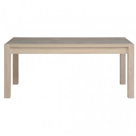 Table à manger design industriel GAILLON (chêne, béton clair)