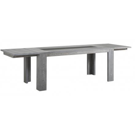 Rectangular design table 2 elongated BERCY decor (grey) oak