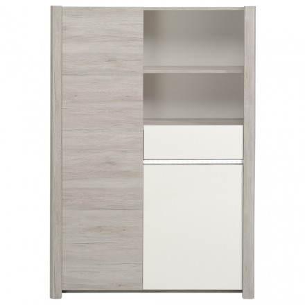 Bahut buffet haut design CHAILLOT décor chêne (gris clair, blanc brillant)