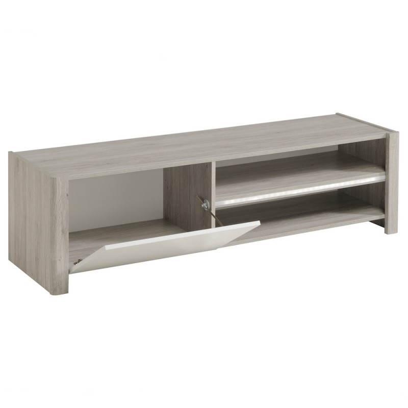 Meuble TV design CHAILLOT décor chêne (gris clair, blanc ...