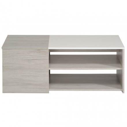 Table basse rectangulaire design CHAILLOT décor chêne (gris clair, blanc brillant)
