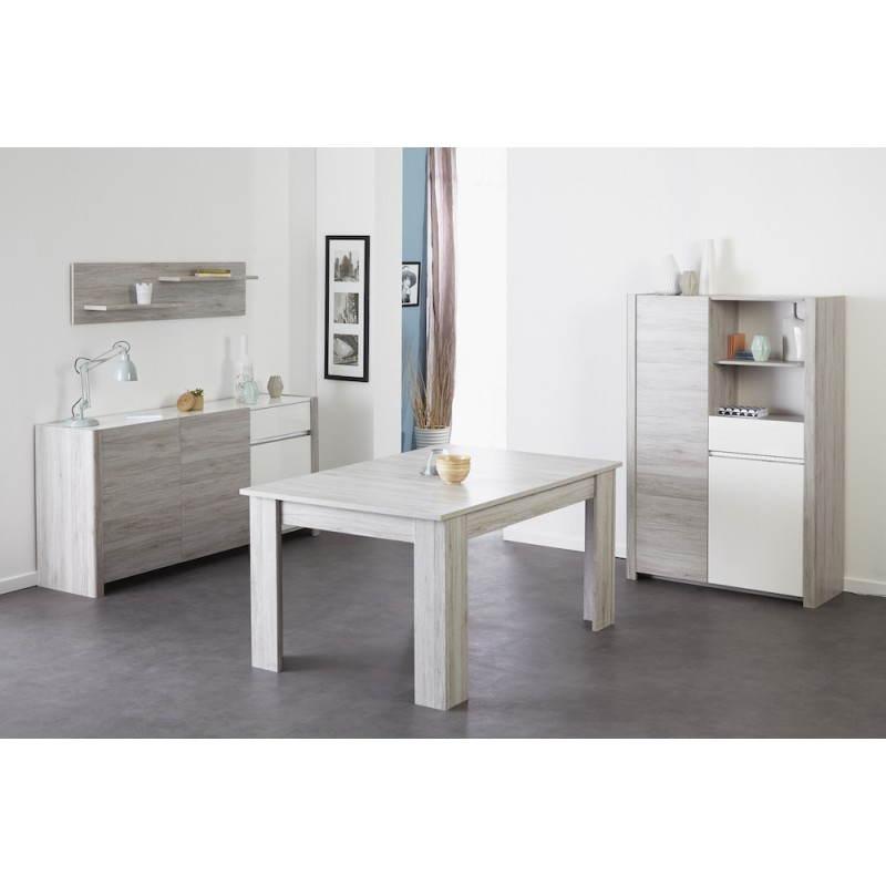 buffet enfilade 3 portes design chaillot d cor ch ne gris clair blanc brillant. Black Bedroom Furniture Sets. Home Design Ideas