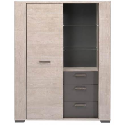 Buffet bahut haut contemporain ODEON (gris loft, gris ombre)