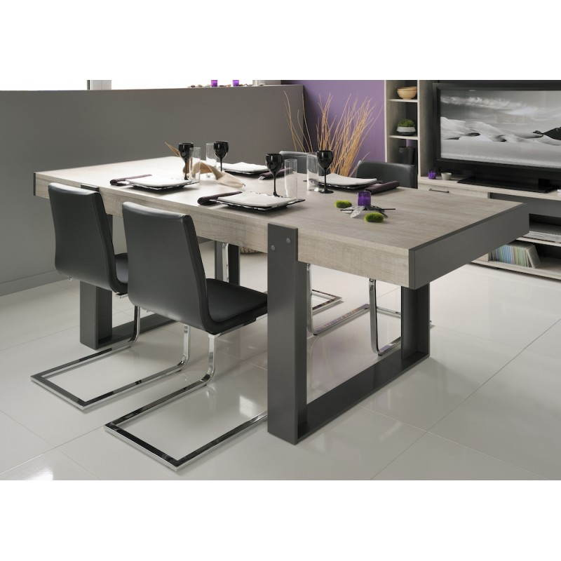 Table a manger industrielle contemporaine odeon gris loft gris ombre - Table a manger contemporaine ...
