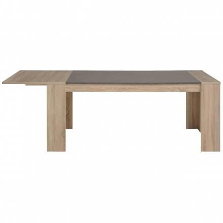 Table à manger avec 2 allonges design FIRMIN décor chêne brut (beige, béton foncé)