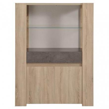 Top design vetrina a buffet FIRMIN arredamento rovere grezzo (cemento beige, scuro)