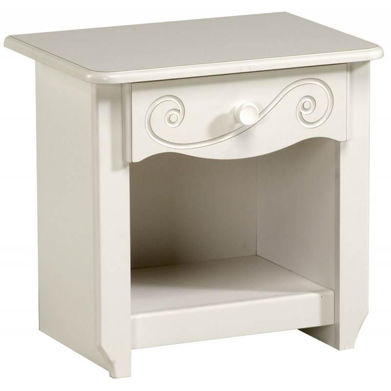 Chevet fille 1 tiroir style romantique altesse blanc - Bureau style romantique blanc ...