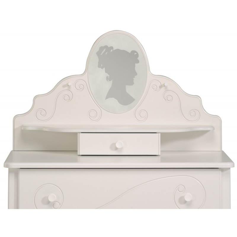 Coiffeuse fille 1 miroir style romantique altesse blanc for Miroir blanc romantique