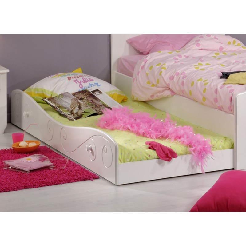 Tiroir lit fille 90x190 cm style romantique altesse blanc for Nettoyage tapis avec canapé avec tiroir lit