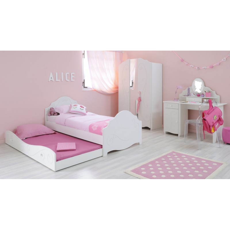 tiroir lit fille 90x190 cm style romantique altesse blanc. Black Bedroom Furniture Sets. Home Design Ideas