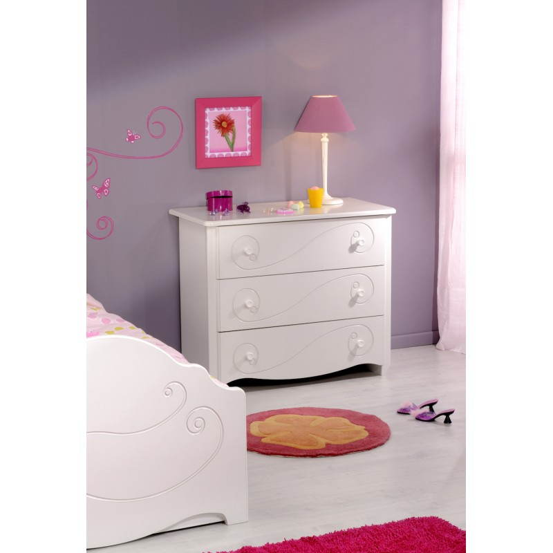 commode fille 3 tiroirs style romantique altesse blanc. Black Bedroom Furniture Sets. Home Design Ideas