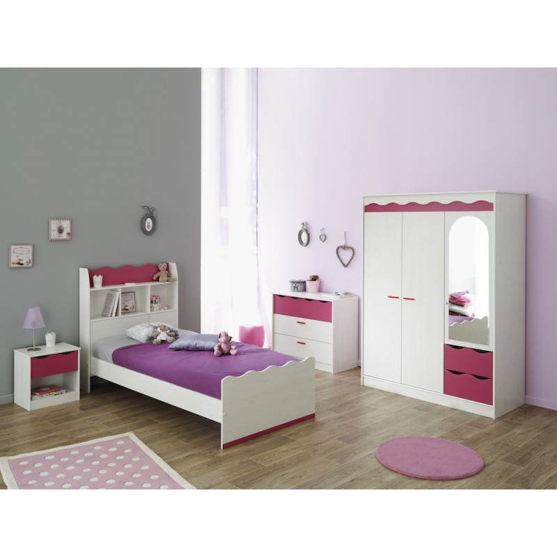 kleiderschrank m dchen 3 t ren 2 schubladen stil. Black Bedroom Furniture Sets. Home Design Ideas