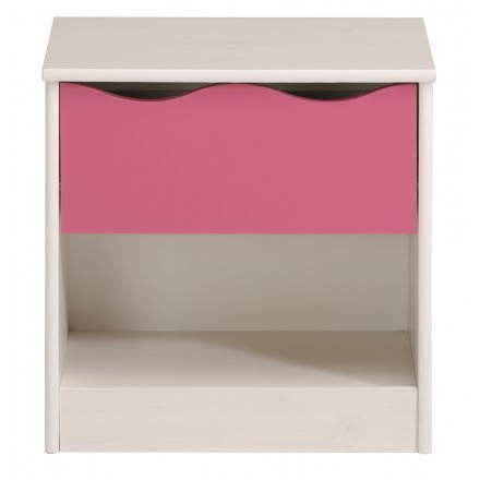 Bedside daughter 1 drawer romantic style CLOE (white, pink)