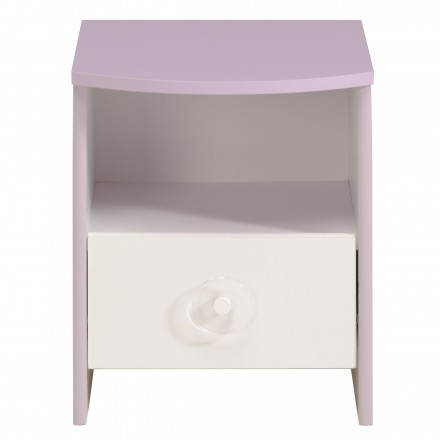 Bedside daughter 1 drawer romantic style FLORES (white, lilac)