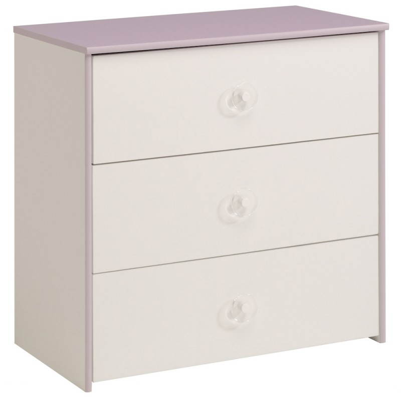 commode fille 3 tiroirs style romantique flores blanc lilas. Black Bedroom Furniture Sets. Home Design Ideas