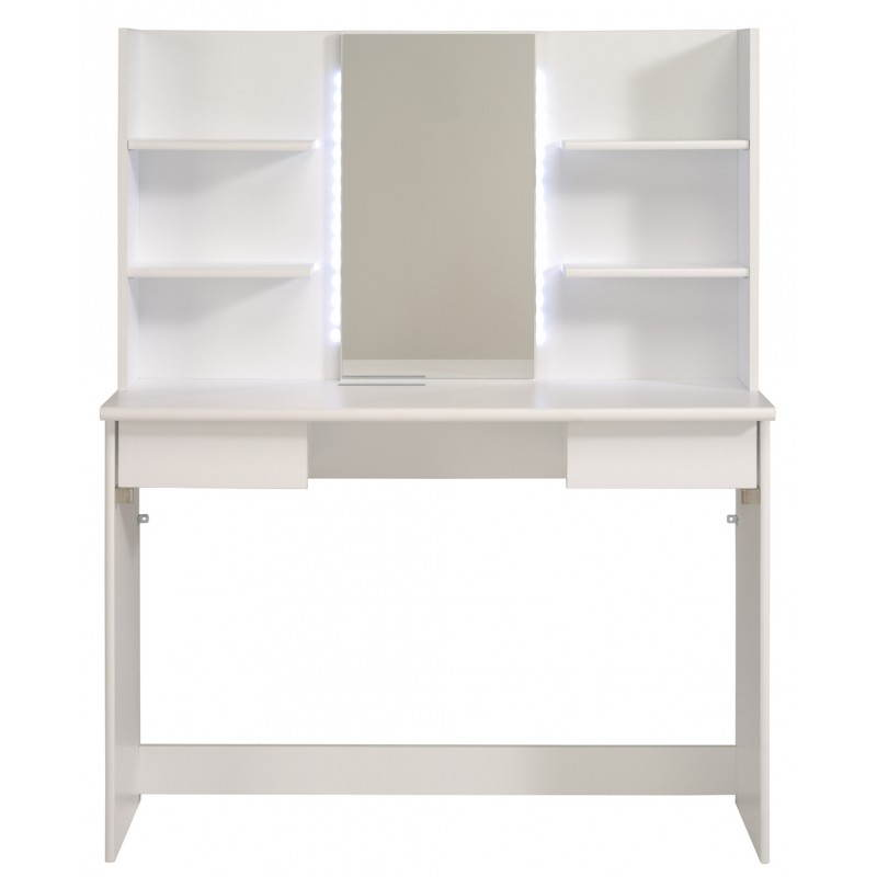 Coiffeuse meuble design 1 miroir ambre blanc for Meuble coiffeuse avec miroir