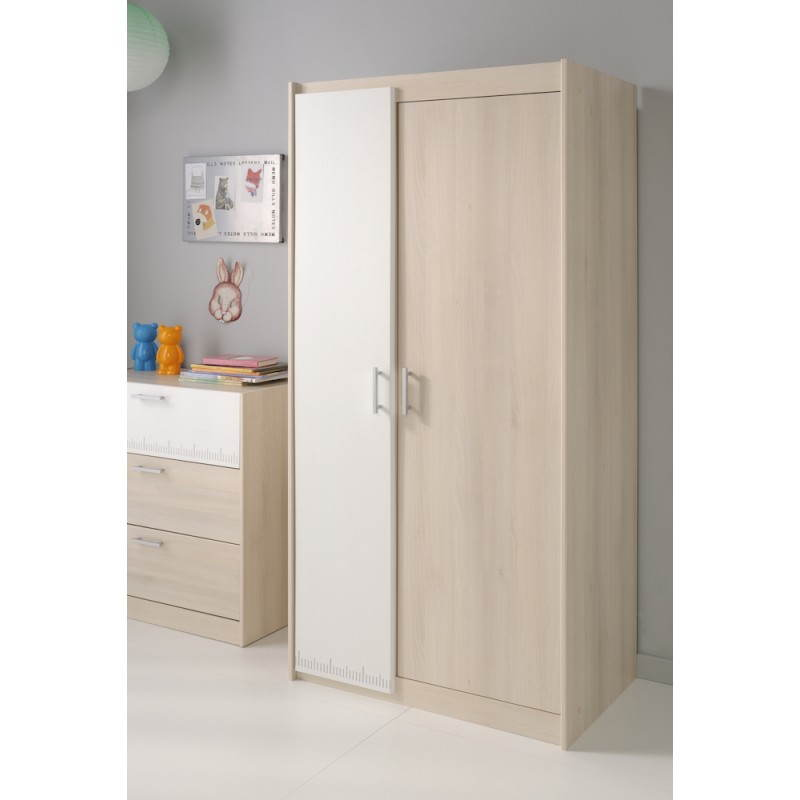 armoire design junior fille gar on 2 portes alex blanc beige fr ne. Black Bedroom Furniture Sets. Home Design Ideas