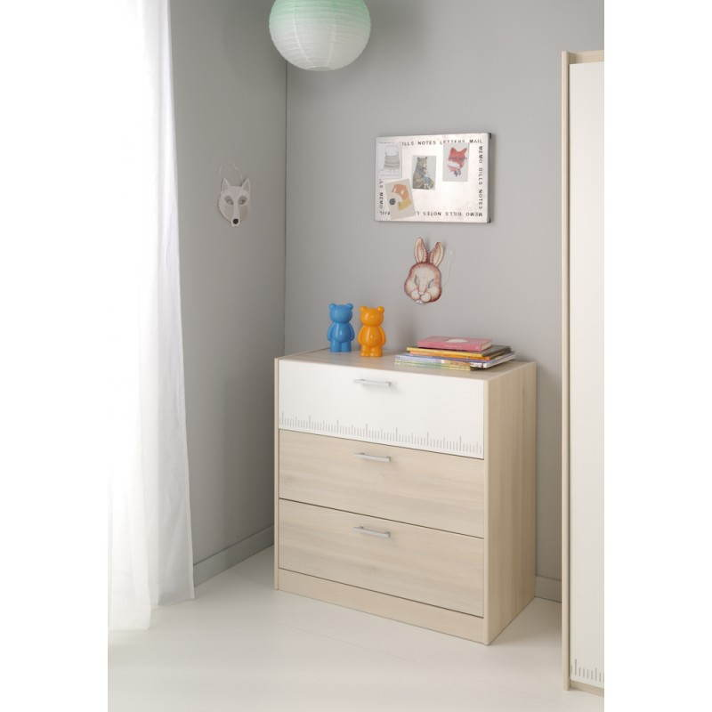 Commode design 3 tiroirs junior fille gar on alex blanc - Chambre junior garcon ...